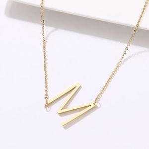 A-Z Fold Initial Letter Pendant Chain Necklace
